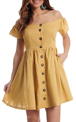 Fashion On Earth Women's Mustard Off The Shoulder Button Down Dress
