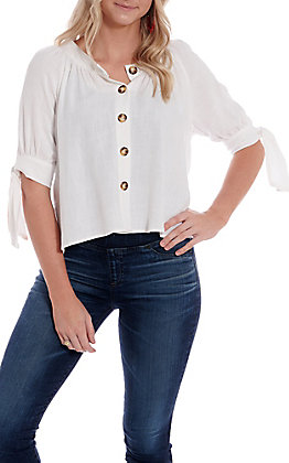 Fashion On Earth Women's Off White Tie Sleeve Button Front Fashion Top