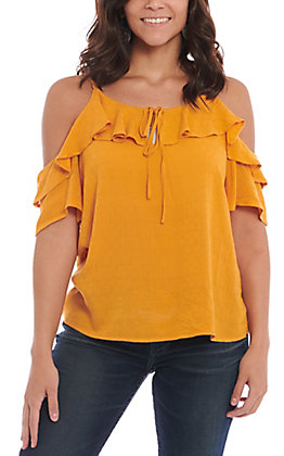 Fashion On Earth Mustard Ruffle Cold Shoulder Fashion Top