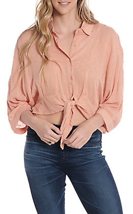 Fashion On Earth Peach Tie Front Button Down Dolman Fashion Top