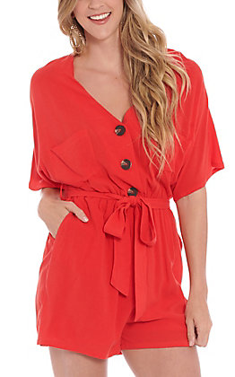 HYFVE Women's Red V-Neck Short Sleeve Button Down Romper