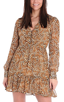 HYFVE Women's Brown Leopard V-Neck Sheer Long Sleeve Dress