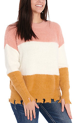 Fashion on Earth Women's Dusty Rose, White & Tan Color Block Distressed Sweater