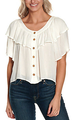 HYFVE Women's White with Ruffle Button Down Short Sleeve Fashion Top