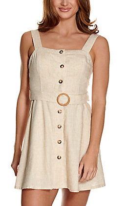 Fashion on Earth Oatmeal Button Down and Belted Sleeveless Linen Dress