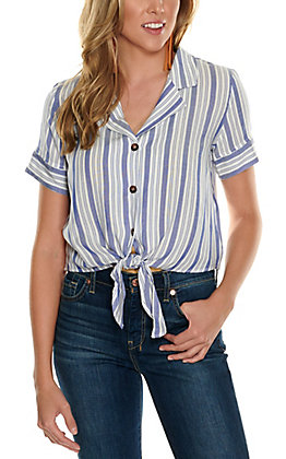 Hyfve Women's White with Blue Stripes Tie Front Cropped Short Sleeve Fashion Top