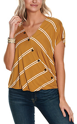 HYFVE Women's Mustard and White Stripes Button Wrap Front Short Sleeve Fashion Top