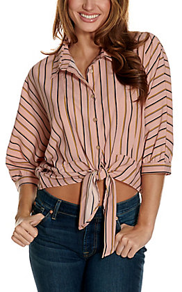 HYFVE Women's Dusty Pink with Navy & Gold Stripes Tie Front Dolman Sleeves Cropped Fashion Top