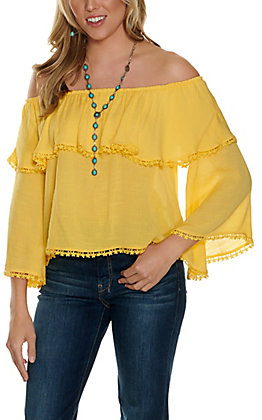 Fashion on Earth Women's Yellow with Off the Shoulder Ruffle Bell Sleeve Fashion Top