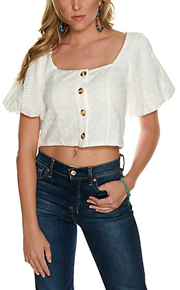 Fashion on Earth Women's White Eyelet Button Down Puff Short Sleeves Cropped Top