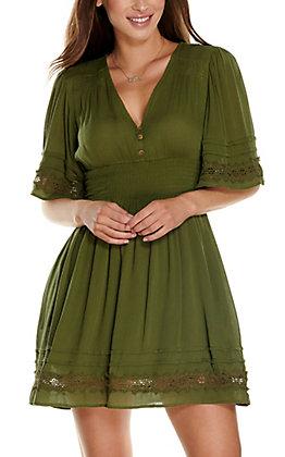 Fashion on Earth Women's Olive V-Neck Short Sleeve Dress