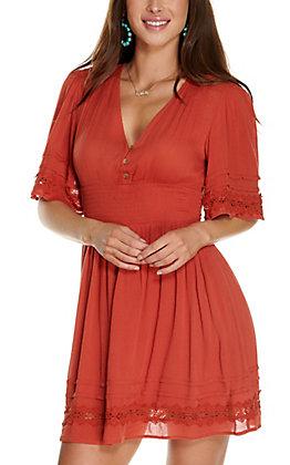Fashion on Earth Women's Rust V-Neck Short Sleeve Dress