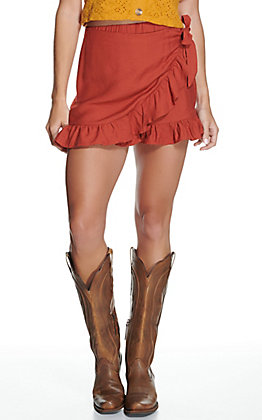 Fashion on Earth Women's Rust Ruffle Tie Skort