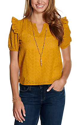 Fashion on Earth Women's Mustard Eyelet V-Neck Short Sleeve Fashion Top