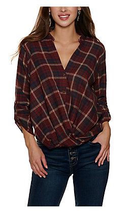 HYFYE Woman's Burgundy Plaid Flannel Top