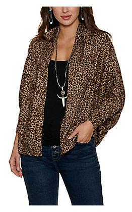 HYFVE Women's Brown Leopard Dolman Sleeve Shawl Neck Kimono
