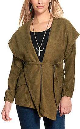 HYFYE Women's Olive Cinched Waist Hooded Jacket
