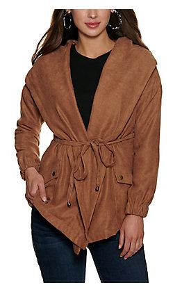 HYFVE Women's Brown Tie Front Hooded Jacket