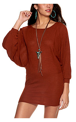 HYFVE Women's Rust Ribbed Knit Dolman Sleeve Dress