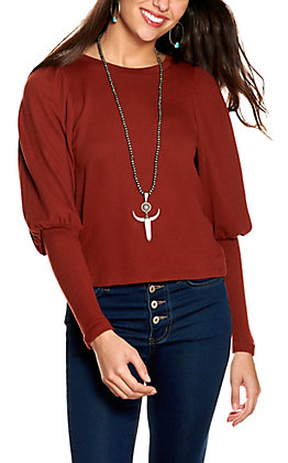 HYFVE Women's Rust Ribbed Knit Long Puff Sleeves Top
