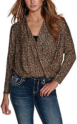 HYFVE Women's Brown Leopard Print Surplice Front 3/4 Dolman Sleeves Knit Top