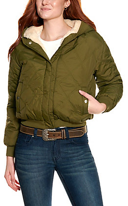 HYFVE Women's Olive Quilted with Sherpa Lining Hooded Reversible Jacket