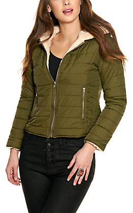 HYFVE Women's Olive Quilted Hooded Jacket