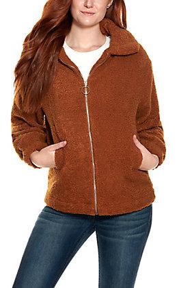 HYFVE Women's Camel Zip Up Teddy Jacket