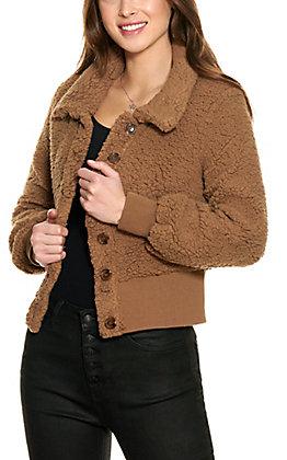 HYFVE Women's Toffee Sherpa Button Front Teddy Jacket