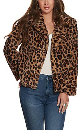 HYFVE Women's Mocha Leopard Print Faux Fur Jacket