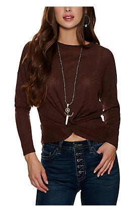 HYFVE Women's Dark Brown Knot Front Sweater