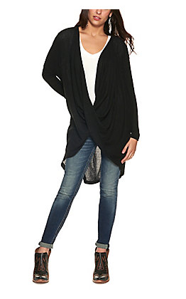 HYFVE Women's Black Ribbed Knit Deep Surplice Long Sleeve Hi Lo Top