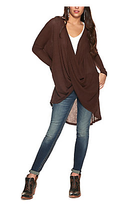 HYFVE Women's Dark Brown Ribbed Knit Deep Surplice Long Sleeve Hi Lo Top