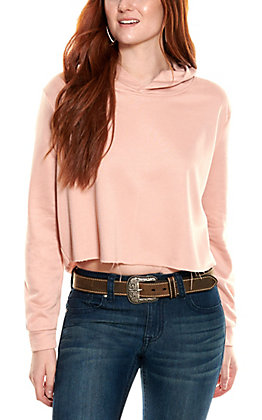 HYFVE Women's Mauve Long Sleeve Cropped Hoodie Top