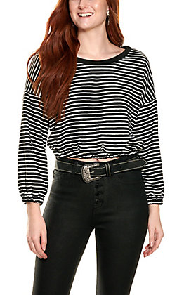 HYFVE Women's Black and White Stripe Cropped Long Sleeve Top