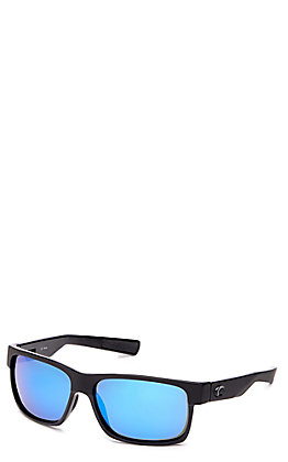 Costa Half Moon Black Matte with Blue Mirror Polarized Sunglasses