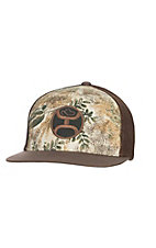 HOOey Camo with Brown Embroidered Logo and Brown Mesh Back Snap Back Cap