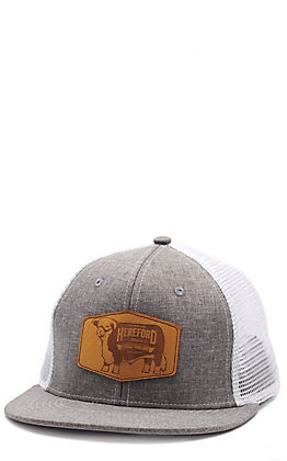 Lazy J Ranch Grey & White Hereford Leather Patch Cap