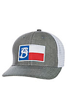 Stackin Bills Heather Grey and White Texas Flag Mesh Snap Back Cap