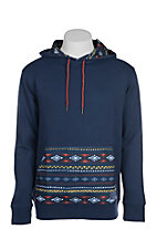 HOOey Men's Royal Blue with Aztec Print Hoody
