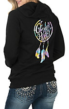 HOOey Women's Black Full Zip Dream Catcher Hoodie