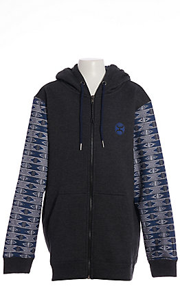 HOOey Youth Terlingua Black With Blue Aztec Zip Up Hoodie