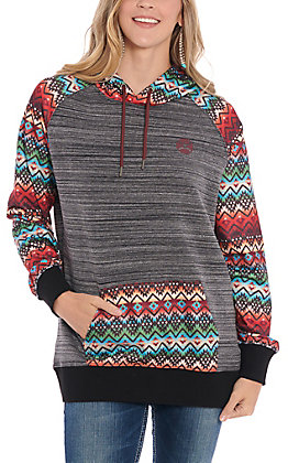 Hooey Women's Black Sierra Aztec Sleeves and Pocket Hooded Sweatshirt