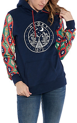 Hooey Women's Navy and Aztec Cactus Logo Hooded Sweatshirt