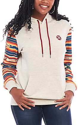 Hooey Women's Oat with Aztec Sleeves Hooded Sweatshirt