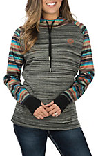 HOOey Women's Grey w/ Navajo Sleeves Hooded Sweatshirt
