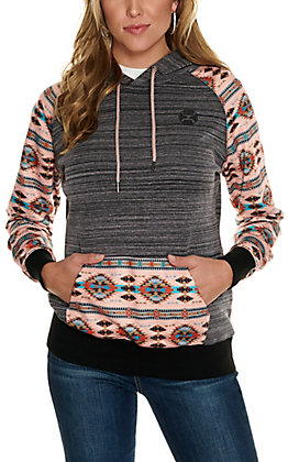 HOOey Women's Saguaro Heather Black with Pink Aztec Print Hoodie