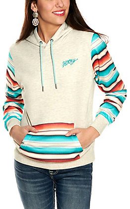 Hooey Women's Mojave Cream with Serape Print Hoodie