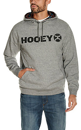 HOOey Men's Lock Up Grey with Black Logo Hooded Sweatshirt
