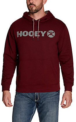 Hooey Men's Lock Up Maroon with Grey Logo Hooded Sweatshirt